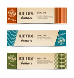 Retro horizontal banners with colored stripes vector image