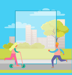 rollerskating man and girl on kick scooter in park vector image