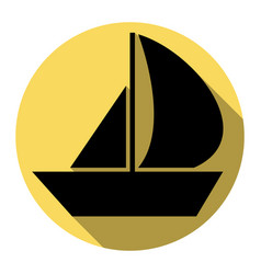 sail boat sign flat black icon with flat vector image