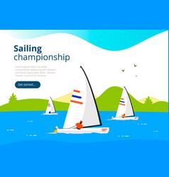 sea sailing championship banner vector image