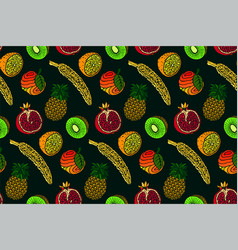 seamless pattern with fruits on green background vector image