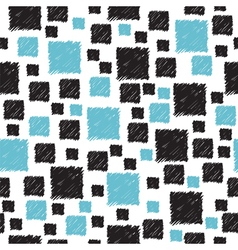 Seamless pattern with hand drawn blue and black vector image