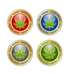 Set golden legalize marijuana hemp cannabis vector