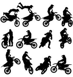 Set of biker motocross silhouettes vector