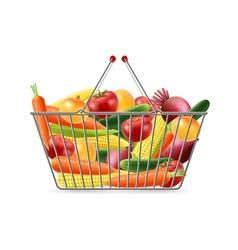 Shopping Basket Full Vegreables Realistic Image vector image