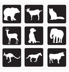 silhouettes of animals 4 vector image
