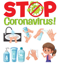 stop coronavirus logo with hand using sanitizer vector image
