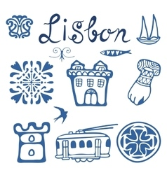 Stylish Portugal typical icons collection vector