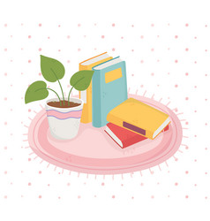Sweet home books potted plant on carpet vector