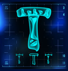 T letter capital digit roentgen x-ray vector