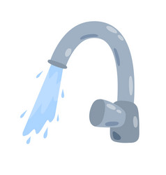 Tap with running water jet vector