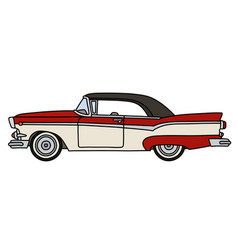 The old red and white american car vector