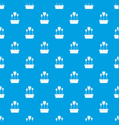Tulips in box pattern seamless blue vector
