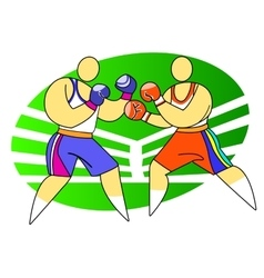 Two boxers fighting vector image
