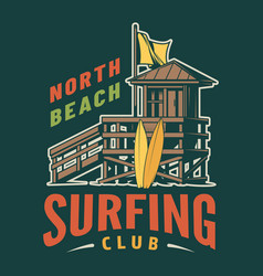 vintage surfing club colorful logo vector image