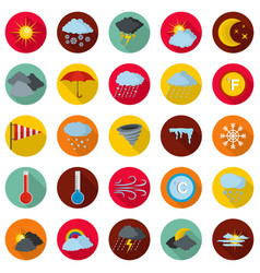 Weather icons set flat style vector