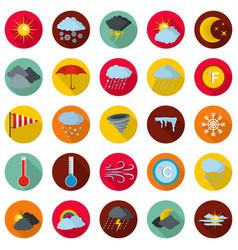 weather icons set flat style vector image
