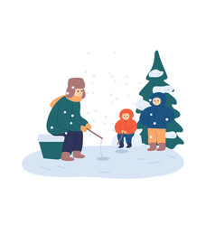 winter fishing relax flat vector image