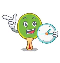 With clock ping pong racket character cartoon vector