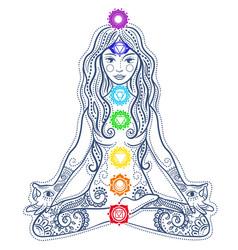 Woman doing yoga concept vector