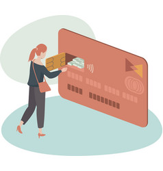 woman using credit card to withdraw money vector image