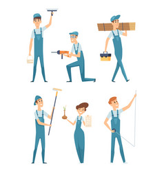 worker characters professional people builders vector image