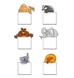 animals with cards or banners design set vector image vector image