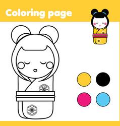 coloring page with japanese kokeshi doll drawing vector image vector image