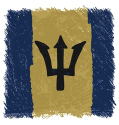Flag of Barbados handmade square shape vector image vector image