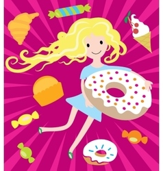Girl dreams with big donut and tasty sweets vector image