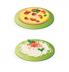 pasta and pizza vector image