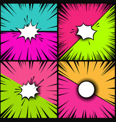 set of comic style backgrounds versus style pop vector image