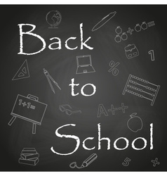 Back to School text on black chalkboard background vector image