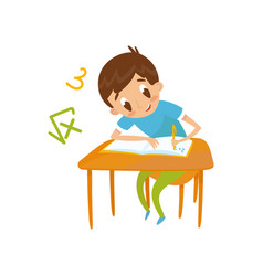 elementary school student writing at school vector image