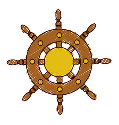 hand colored drawing of boat helm icon vector image vector image