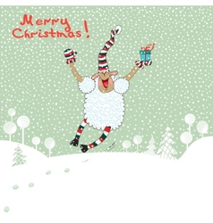 Merry card with sheep vector image vector image