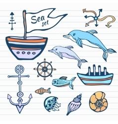 Sea life sketch hand drawn doodle set Nautical vector image vector image