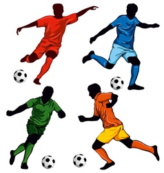 set of four soccer players vector image vector image