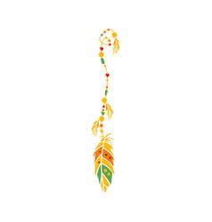 string with the beads and feather on the end vector image