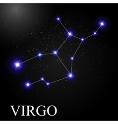 Virgo zodiac sign with beautiful bright stars on vector