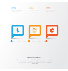 business icons set collection of contract work vector image