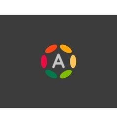 Color letter a logo icon design hub frame vector