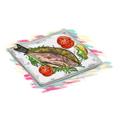 Cooked fish vector
