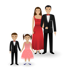 couple and two kids in elegant clothes vector image