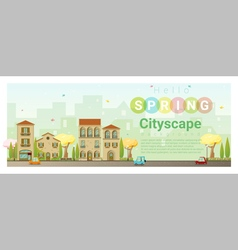 Hello spring cityscape background 4 vector image vector image