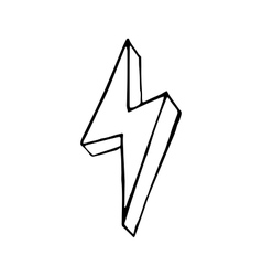 Lightning bolt hand drawn doodle vector image vector image