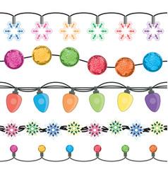 seamless strings of christmas light garland lamps vector image