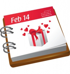 Valentine's calendar vector image vector image