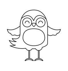 cute line icon bird cartoon vector image