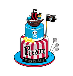 pirate party cake icon vector image vector image